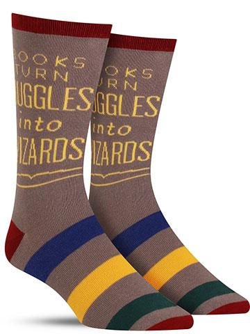 Books Turn Muggles into Wizards Men's Crew Socks