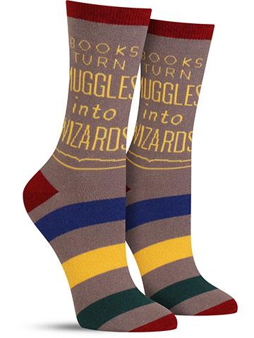 Books Turn Muggles into Wizards Women's Crew Socks