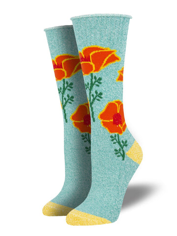 Outlands Made in USA California Poppies (Teal) Women's Boot Sock