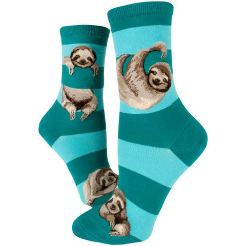 Sloth Stripe (Teal) women's Crew Socks