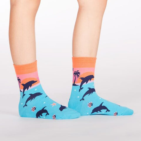Dancing Dolphins Kids' (Age 7-10) Crew Socks