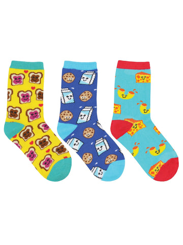 BFF, Best Foods Forever 3 Pack Kids' Crew Socks (6-12 Months or 12-24 Months)