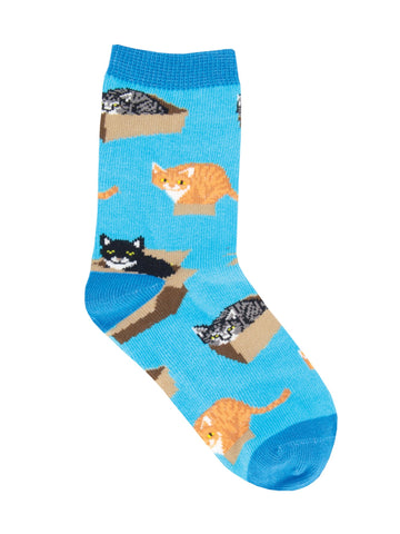 Cat In A Box Kids' Crew Socks (Age 7-10)