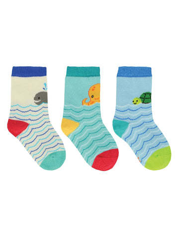 Nice to Sea You! 3 Pack Kids' Crew Socks (6-12 Months or 12-24 Months)