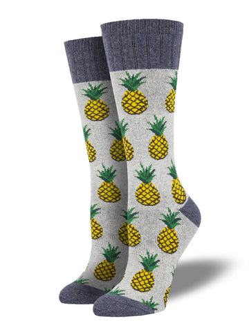 Recycled Wool Pineapples (Light Grey Heather) Women's Boot Sock