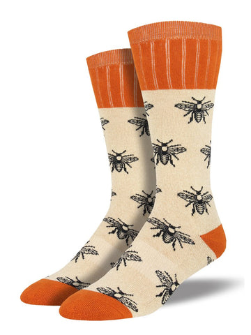 Outlands Bees (Oatmeal) Men's Boot Sock