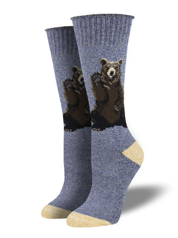 Outlands Made in USA Friendly Bear (Blue) Women's Boot Sock
