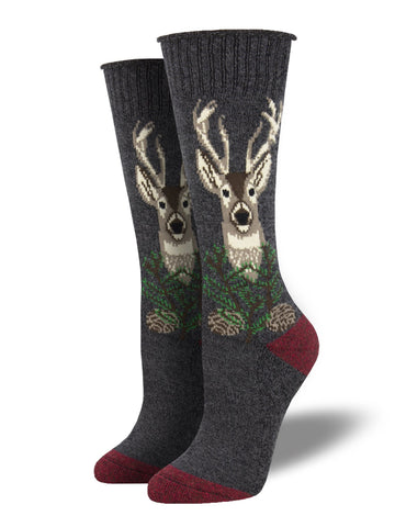 Outlands Made in USA The Buck Stops Here (Charcoal) Women's Boot Sock