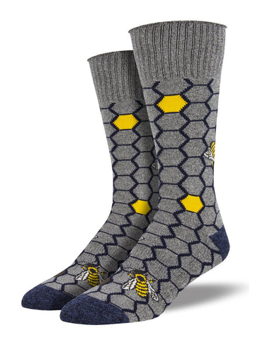 Outlands Made In The USA, Honey Bees (Grey) Men's Boot Sock
