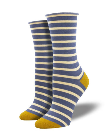 Roll Top Sailor Stripe (Blue) Bamboo Women's Crew Socks