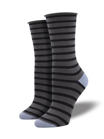 Roll Top Sailor Stripe (Charcoal) Bamboo Women's Crew Socks