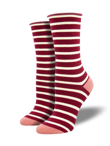 Roll Top Sailor Stripe (Red) Bamboo Women's Crew Socks