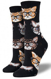 Kittenster (Black) Women's Crew Socks