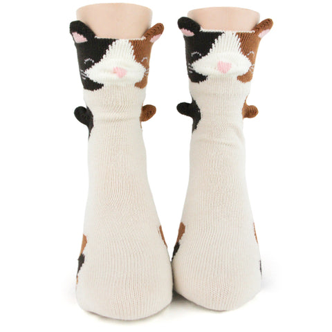 Calico Kitty 3-D Kids' (Age 7-10) Crew Socks