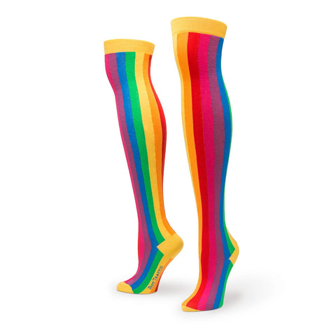 Vertical Rainbow Stripes Over The Knee