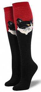 Cat Portrait (Red) Women's Knee Highs