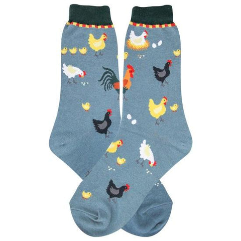 Chickens (Slate Blue) Women's Crew Socks