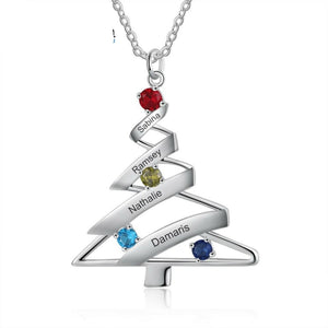 LIMITED TIME - XMA5952 Christmas Tree Necklace Custom Engraved Family Names