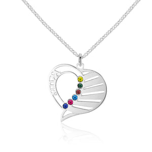 NEC1577 - MOM Heart Necklace - 3-6 names