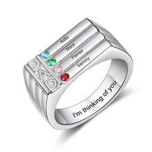 Load image into Gallery viewer, Engraved Name Rings for Men - 4 Birthstone Ring for Dad