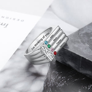 Engraved Name Rings for Men - 4 Birthstone Ring for Dad
