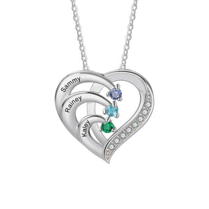 NEC4216 Heart Necklaces 3 Names