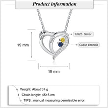 Load image into Gallery viewer, NEC4410 Heart Pendant Necklace - 2 names and stones