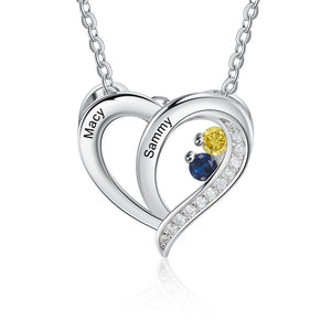 NEC4410 Heart Pendant Necklace - 2 names and stones