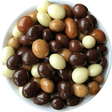 Espresso coffee beans coated in white, milk and dark chocolate
