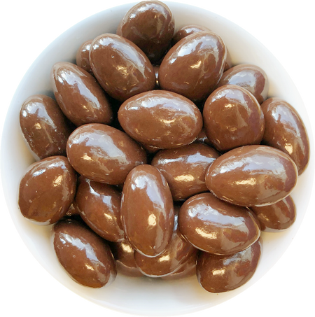 Almonds coated in toffee and dark chocolate