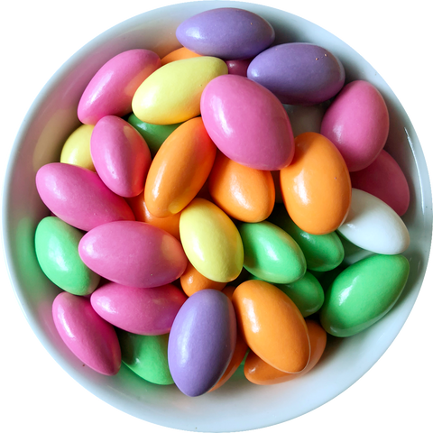 Pastel coloured candy coated almonds