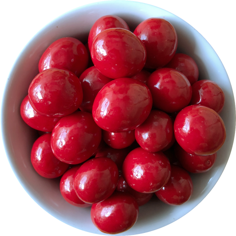 Red coloured chocolate coated cranberries