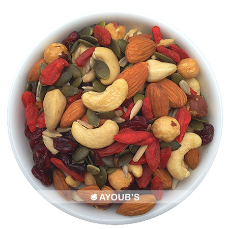 Raw foods mix of almonds, cashews, goji, cranberries, hazelnuts, sunflower and pumpkin seeds