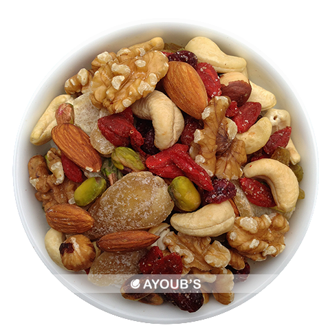 Mix of Premium Shelled Pistachios, Almonds, Cashews, Hazelnuts, Walnuts,Cranberries,Goji, Raisins, Candied Ginger