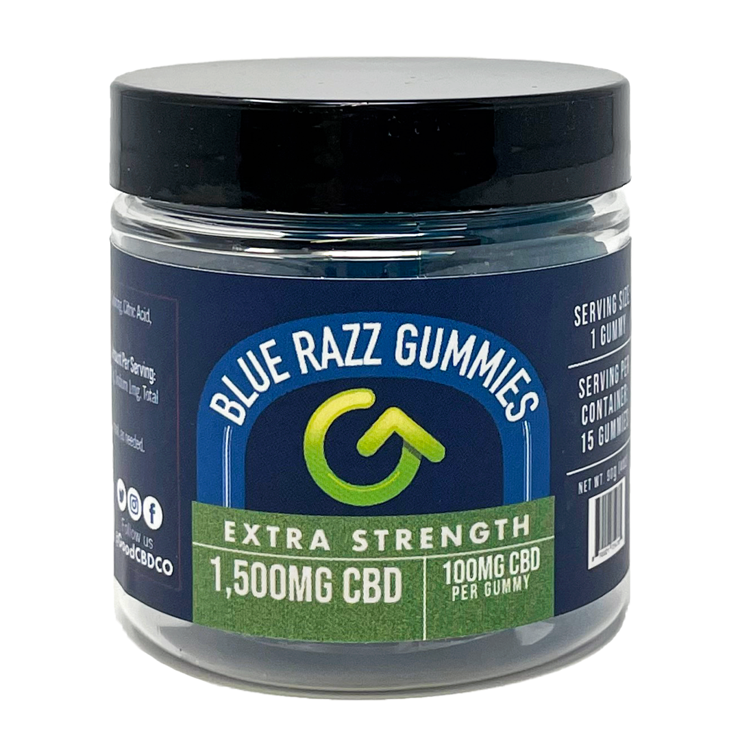 100mg CBD Per Gummy- Blue Razz - Extra Strength