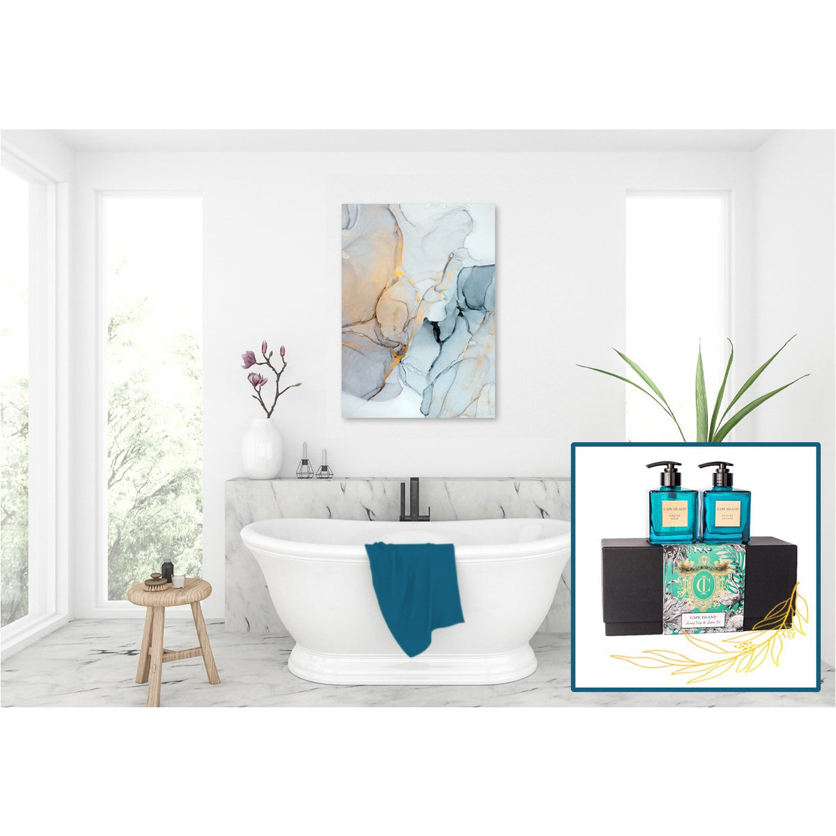 BATHROOM BLISS ABSTRACT CANVAS & FRAGRANCE SET - CLIFTON BEACH RANGE freeshipping - Beautiful Spaces Store