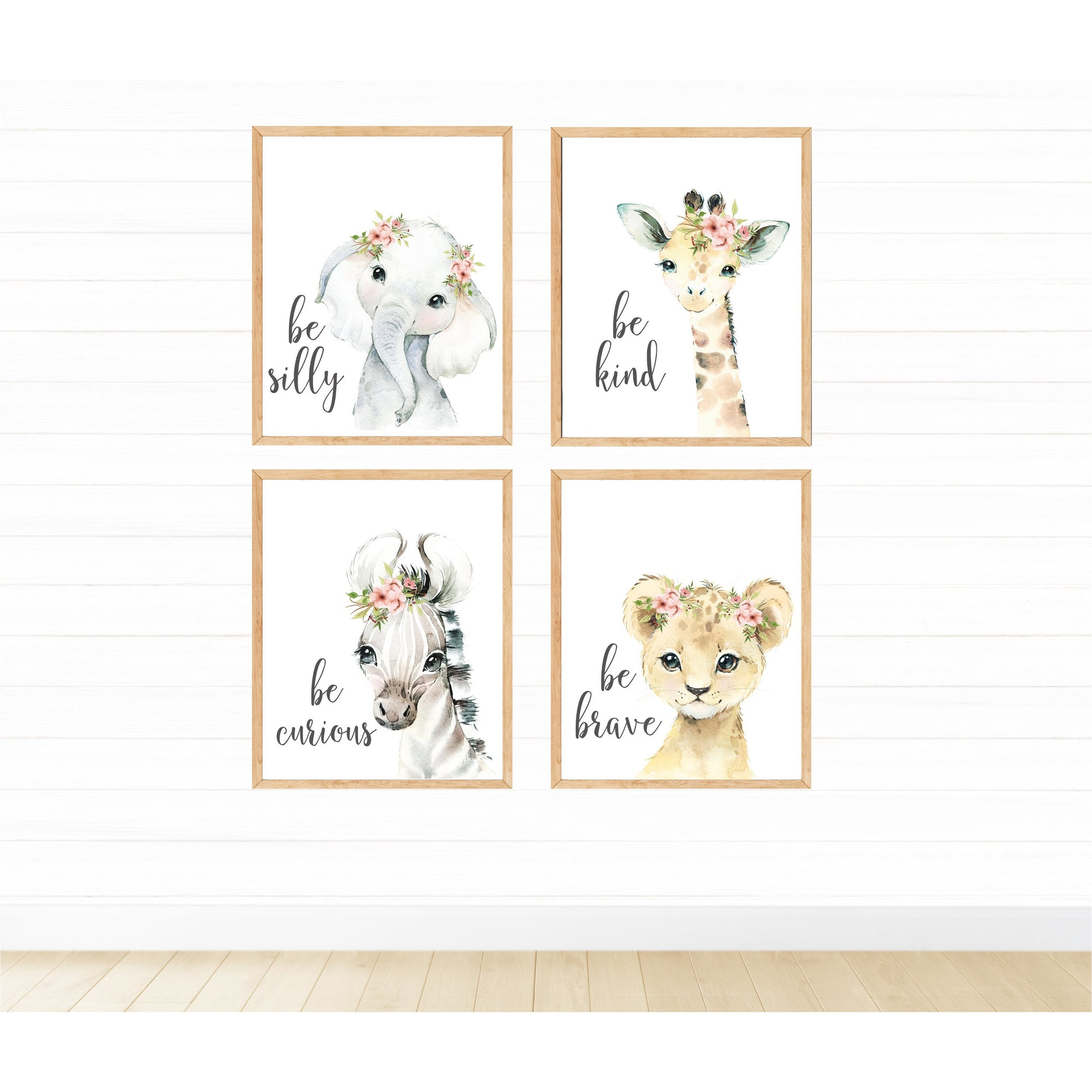 Safari Animals Be Kind with Flowers freeshipping - Beautiful Spaces Store