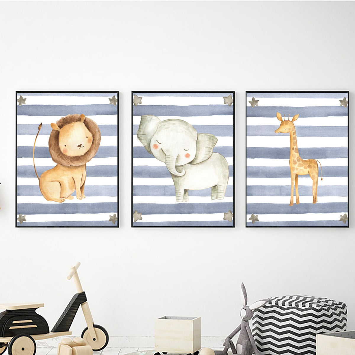 Safari Animals Blue Stripe