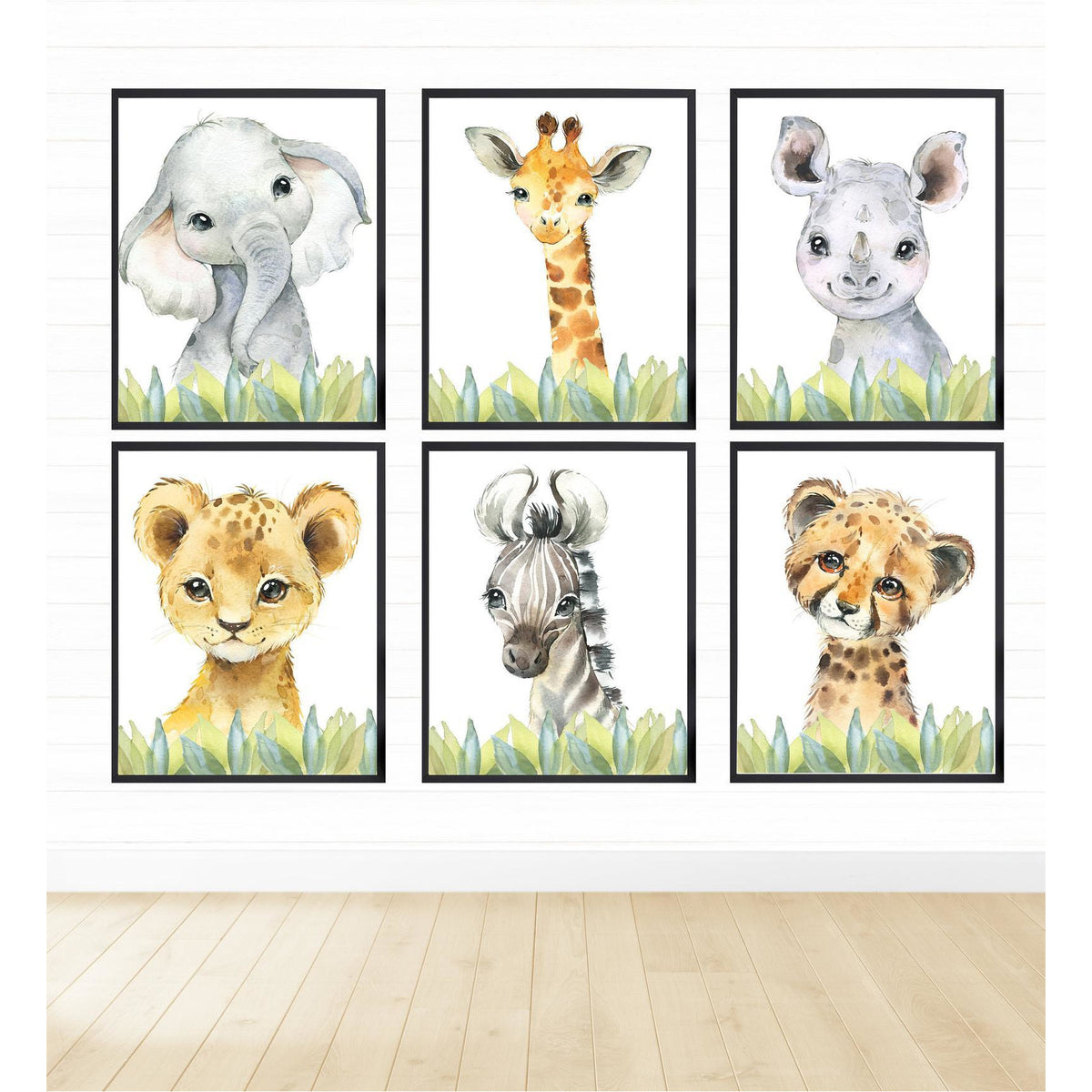 Safari Animals in Green Grass freeshipping - Beautiful Spaces Store