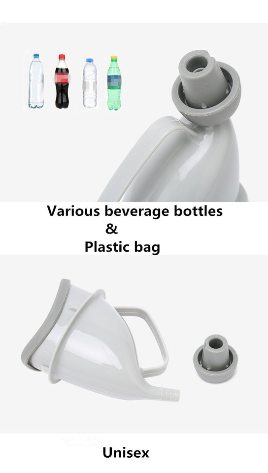 illustrates the types of plastic bottles that can be used to attach the urinal funnel to.