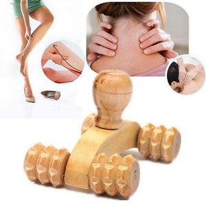 Four Wheels Wooden Massage Roller