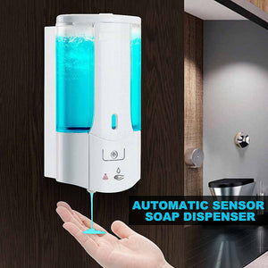 demonstrates the no touch and automatic sensor features of the Smart Wall Soap Dispenser.