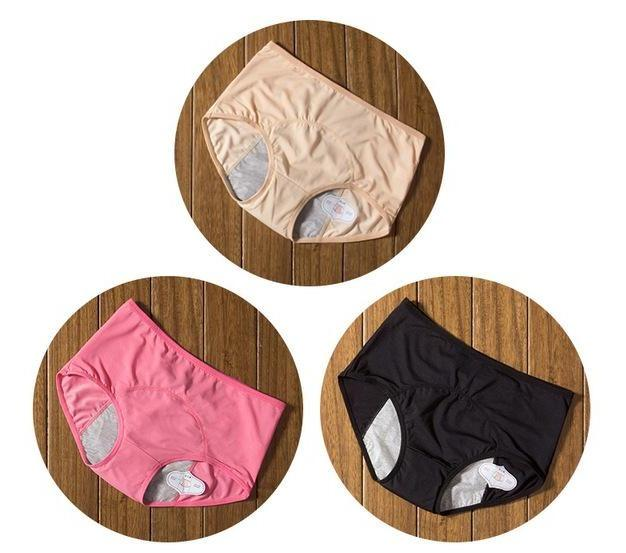 package with beige, pink, and black designs of Elderly Incontinence Women's Leakproof Diapers Pants Underwear.