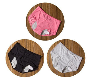 package with pink, black, and grey designs of Elderly Incontinence Women's Leakproof Diapers Pants Underwear.