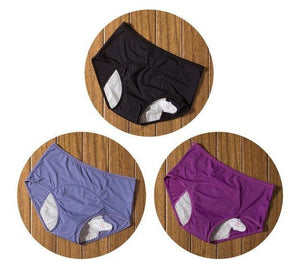 package with black, blue, and purple designs of Elderly Incontinence Women's Leakproof Diapers Pants Underwear.