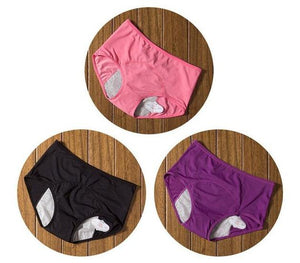 package with red, black, and purple designs of Elderly Incontinence Women's Leakproof Diapers Pants Underwear.
