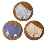 package with blue, grey, and apricot designs of Elderly Incontinence Women's Leakproof Diapers Pants Underwear.