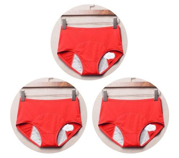 package with 3 red designs of Elderly Incontinence Women's Leakproof Diapers Pants Underwear.