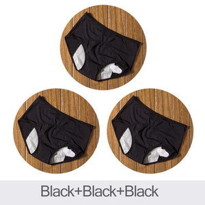 package with 3 black designs of Elderly Incontinence Women's Leakproof Diapers Pants Underwear.