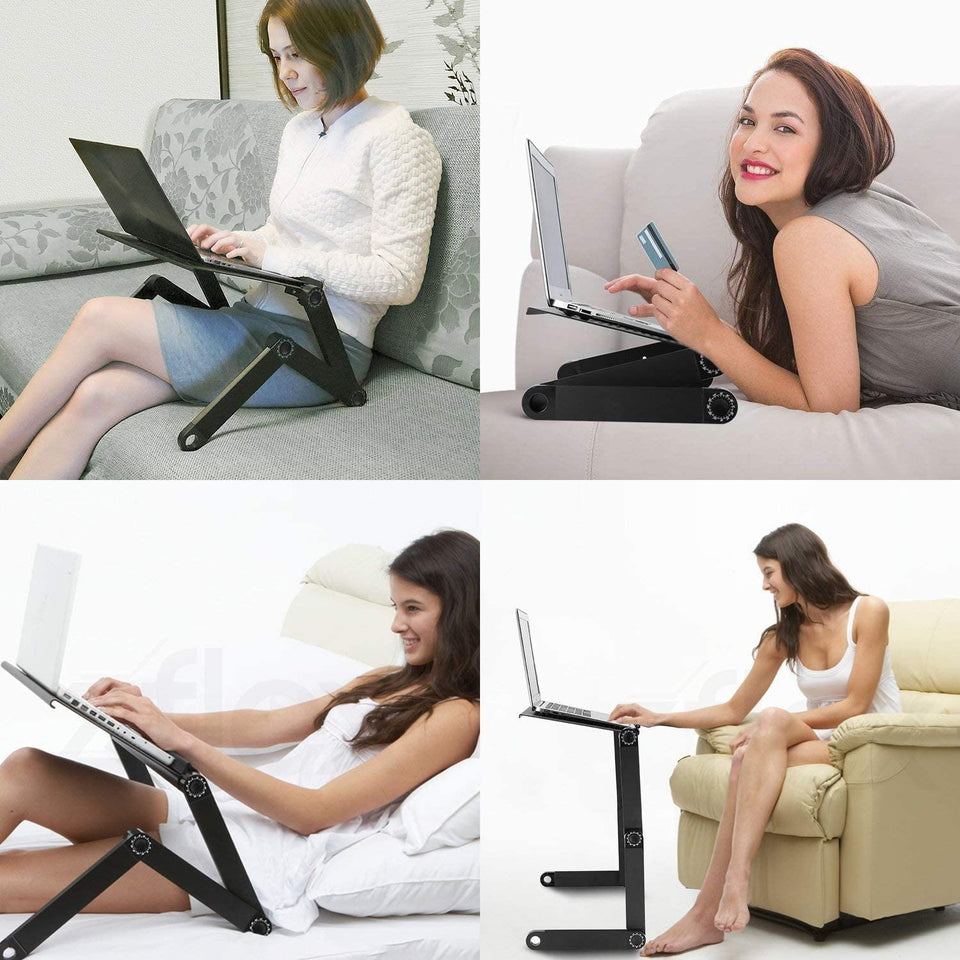 Magic Laptop Desk with Cooling Fan Ergonomic Portable Bed Lapdesk Tray PC Table Stand Notebook  Sofa Desk Stand With Mouse Pad